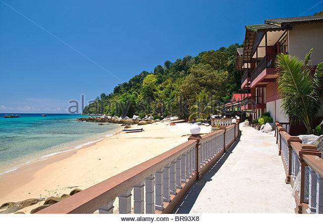Panuba Inn Resort on the beach of Panuba, Pulau Tioman Island, Malaysia, Southeast Asia, Asia - Stock Image