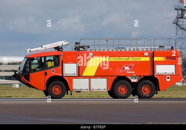Emergency Vechicle on Airport Runway Farnborough, Hampshire, England, UK. - Stock Image