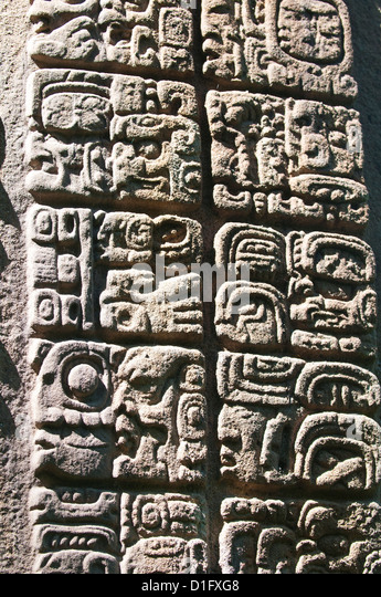Mayan stela at Quirigua Archaeological Park, UNESCO World Heritage SIte, Guatemala, Central America - Stock Image