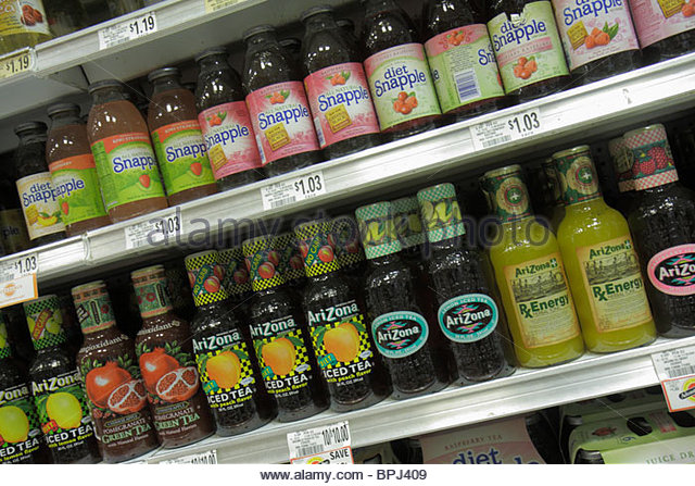 Florida Palm Beach Publix Grocery Store supermarket company business shopping groceries food drink iced tea shelf - Stock Image