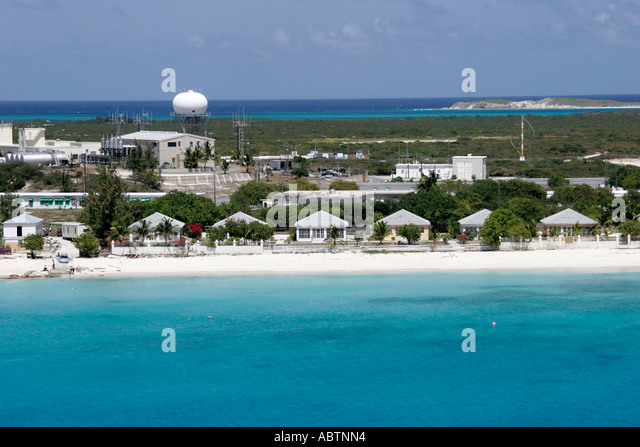 Grand Turk Cockburn Town airport homes beach - Stock Image