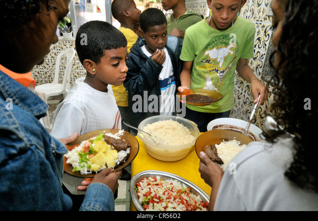 Food bank of a social project, Favela Morro da Formiga slum, Tijuca district, Rio de Janeiro, Brazil, South America - Stock Image