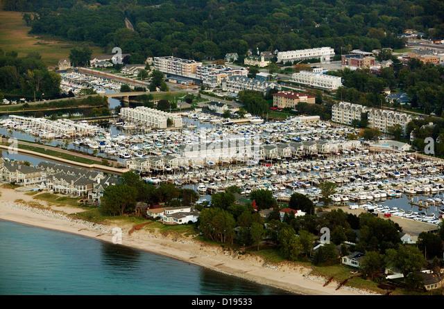 aerial photograph marina New Buffalo, Michigan - Stock Image