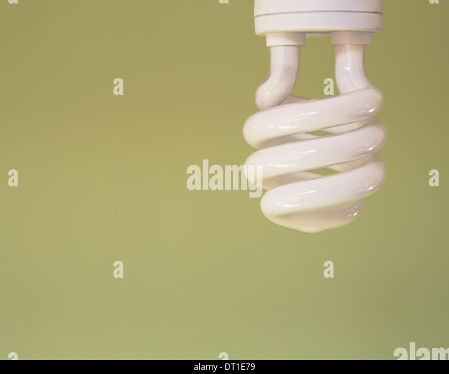 energy efficient fluorescent light bulb CFL - Stock Image