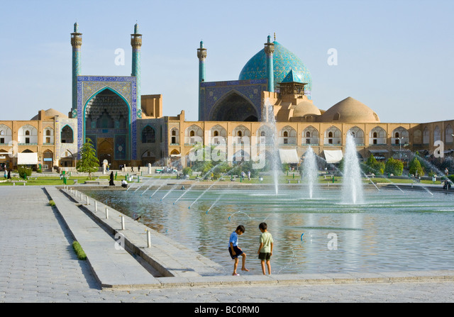 Shaw or Imam Mosque in Imam Square in Esfahan Iran - Stock Image