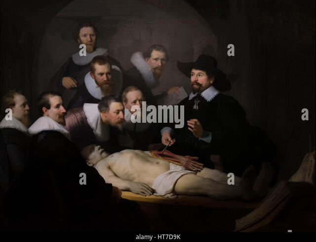 The Anatomy Lesson of Dr Nicholas Tulp, by Rembrandt, 1632, Royal Art Gallery, Mauritshuis Museum, The Hague, Netherlands, - Stock Image