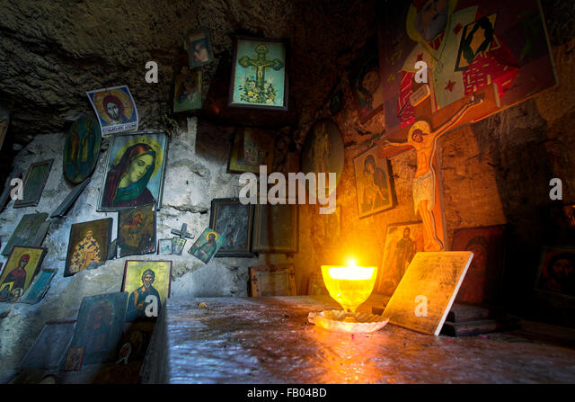 Altar in the cave, Rhodes Island, Greece, Dodecanese - Stock Image