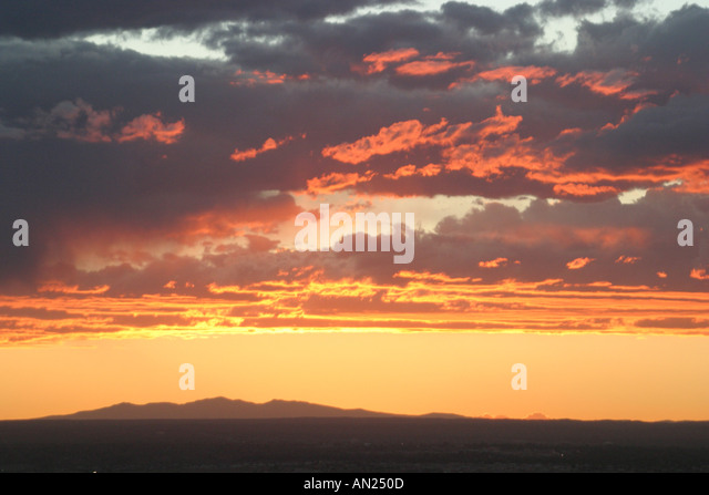 Albuquerque New Mexico sunset west of Rio Grande Valley T - Stock Image
