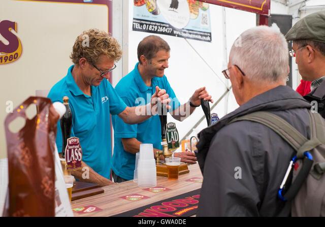 Beer being pulled on the Wood's Brewing Company stall, Ludlow Food Festival, Shropshire, England, UK - Stock Image