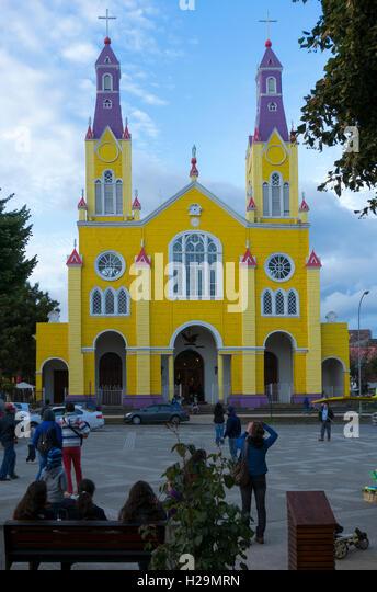 San Francisco church. Plaza de Armas. Castro. Chiloe Island. Chile - Stock Image