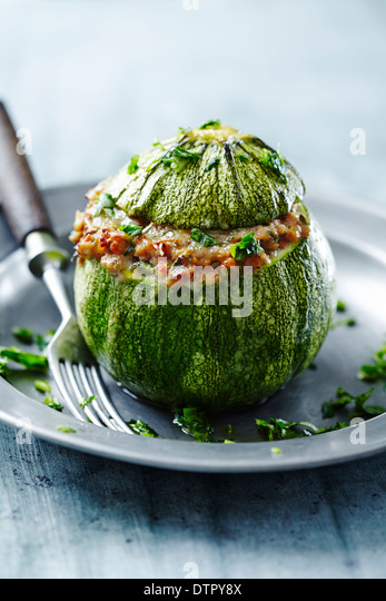 round courgette stuffed - Stock Image