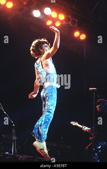 Mick Jagger, in one of his leaps, a legend in his lifetime, formed The Rolling Stone with Keith Richards in 1963 - Stock-Bilder
