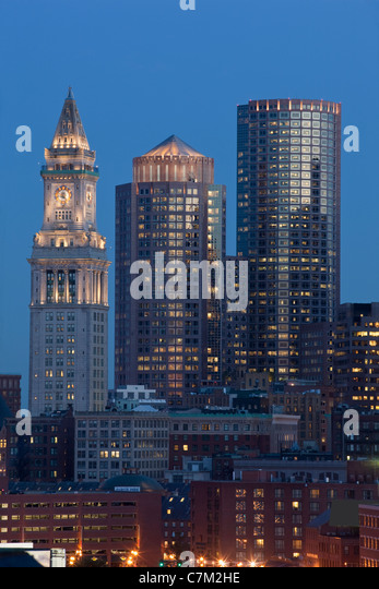 Buildings in a city, Custom House Tower, Boston, Suffolk County, Massachusetts, USA - Stock Image