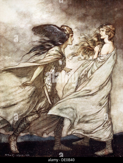 'The ring upon thy hand - ..ah be implored! For Wotan fling it away!', 1924.  Artist: Arthur Rackham - Stock Image