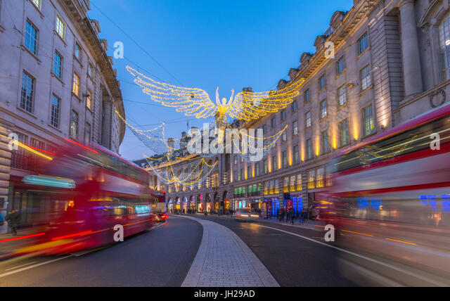 Christmas Lights, Regent Street, West End, London, England, United Kingdom, Europe - Stock Image