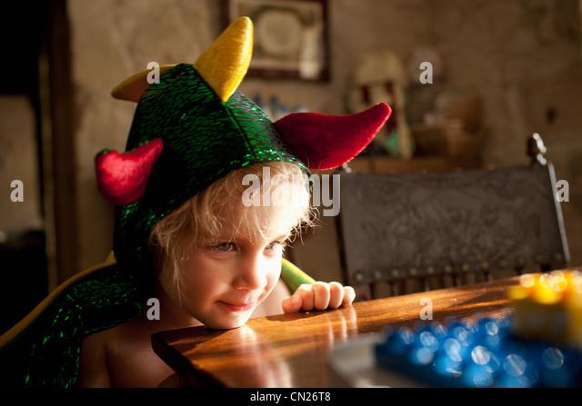 Boy in fancy dress costume - Stock Image