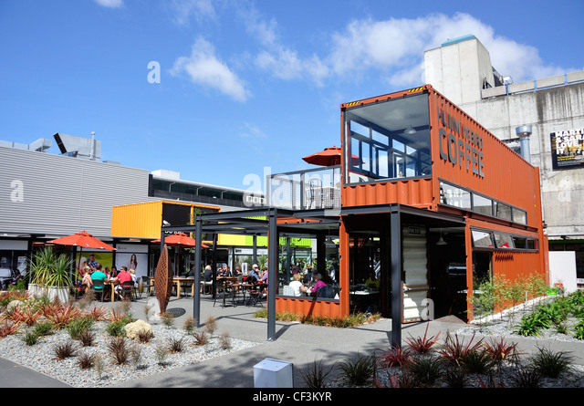 Re:start Container City built after earthquakes, Cashel Mall, CBD, Christchurch, Canterbury District, New Zealand - Stock-Bilder