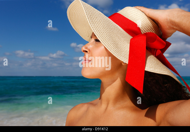 Female with a hat - Stock Image