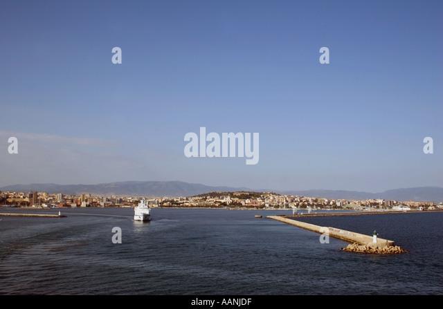 Cagliari, Sardinia from the sea - Stock Image