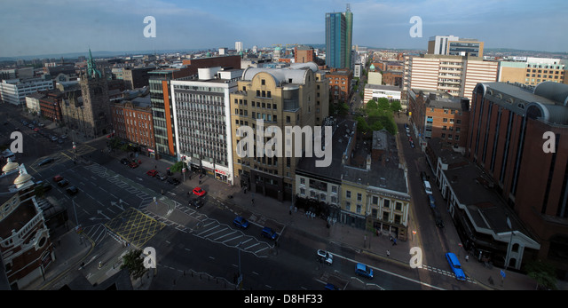 A view across Belfast City, Northern Ireland, UK from Great Victoria St - Stock Image