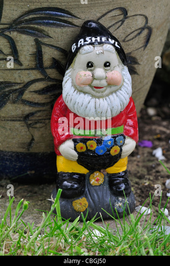 One of the seven dwarves - Bashful - a garden gnome UK - Stock Image