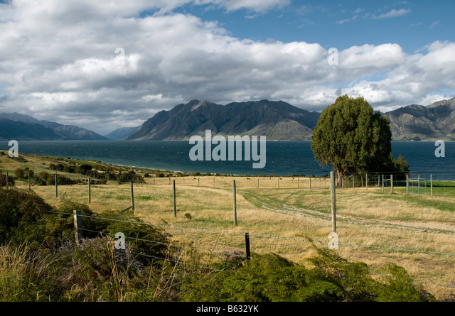 Lake Hawea, near Wanaka, South Island, New Zealand - Stock Image