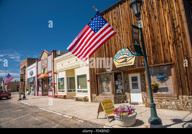 Downtown Fairfield on Flag Day, Fairfield, Idaho, USA - Stock Image