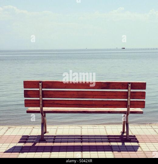 Bench and sea - Stock Image