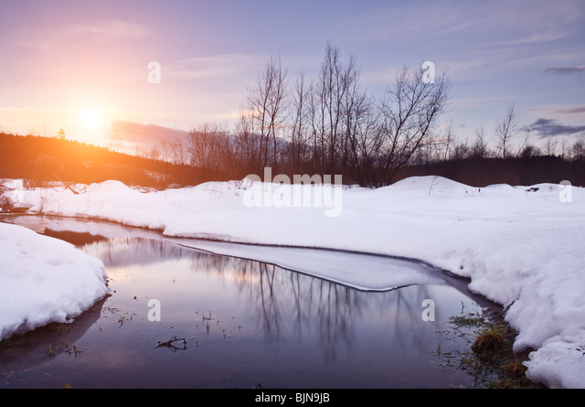 winter landscape with river and trees - Stock-Bilder