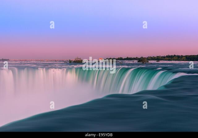 Horseshoe Falls at sunset, part of the Niagara Falls, Ontario, Canada. - Stock Image