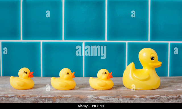 Rubber ducks in a row - Stock-Bilder