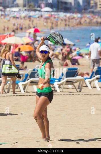 Beach Tennis in Spain - Stock Image