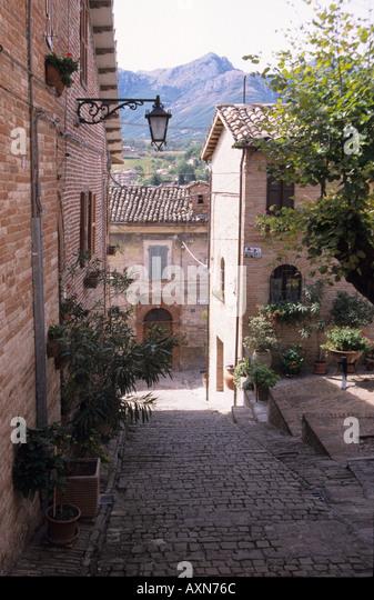 Street scene in Sarnano Le Marche Italy - Stock Image