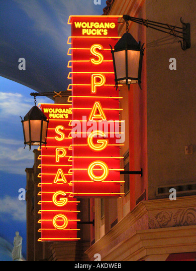 Las Vegas Nevada Las Vegas strip Caesars Palace Forum Shops Restaurants Wolfgang Puck Spago Restaurant Signs - Stock Image