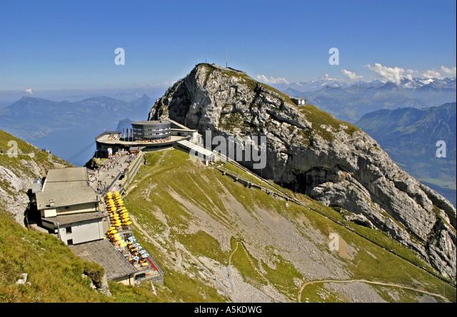 Lucerne luzern Switzerland aerial gondola  railway station on Mount Pilatus aerial overview - Stock Image