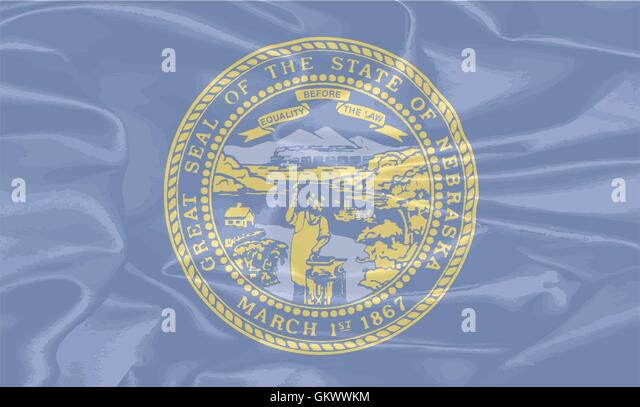 Nebraska State Silk Flag - Stock Image