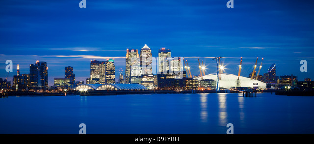 Panoramic view of London skyline over the River Thames featuring Canary Wharf, O2 Arena and The Shard, London, England, - Stock Image