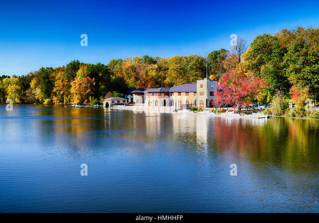 View of the Shea Rowing Center Boathouse, Princeton, New Jersey - Stock Image