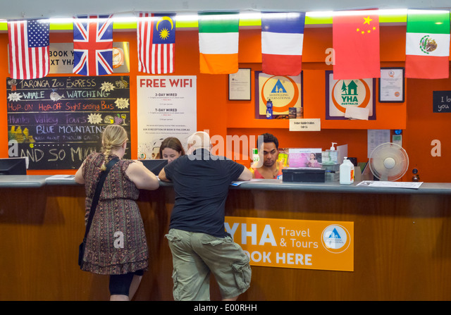 Sydney Australia NSW New South Wales Haymarket Sydney Central YHA youth hostel association lobby front desk reception - Stock Image