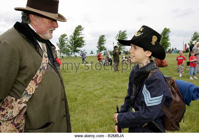 Wisconsin Kenosha Civil War Museum Civil War Days muster Park City Grays living history reenactor man boy mat militia - Stock Image