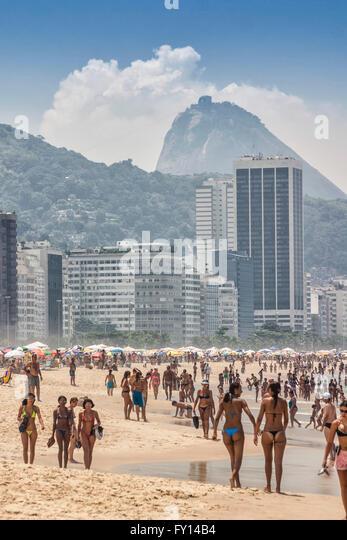 Copacabana beach, Rio de Janeiro, Brazil, - Stock Image