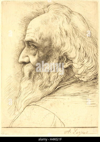 Alphonse Legros, Self-Portrait, 12th plate, French, 1837-1911, etching? and drypoint retouched with crayon - Stock-Bilder