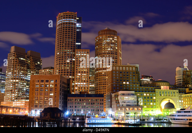 Financial District of Boston, Massachusetts viewed from Boston Harbor. - Stock Image
