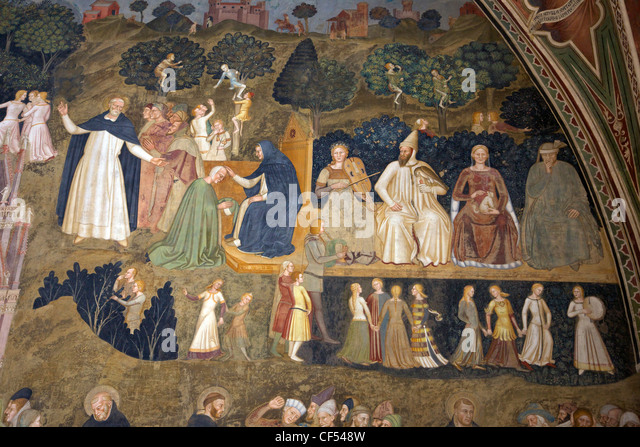 Scenes of Earthly Life and Sacrament of Penitence, by Andrea di Bonaiuto Spanish Chapel Santa Maria Novella Florence - Stock Image