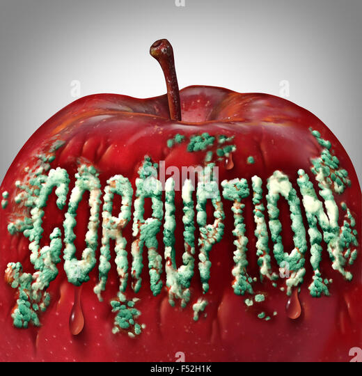 Corruption symbol and rotten to the core concept as mold or fungus shaped as text on an apple representing the criminal - Stock Image