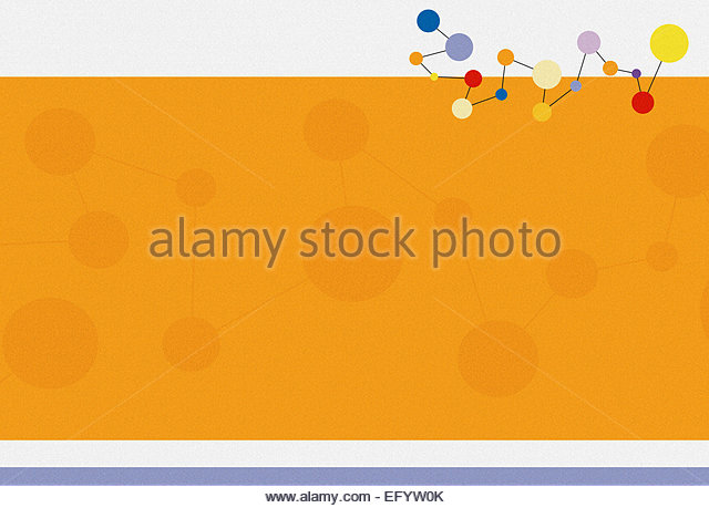 Retro molecular structure of connected shapes - Stock Image