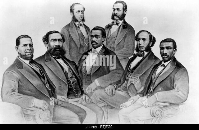 Black Congressmen during Reconstruction. (seated) Sen. H.R. Revels, Mississippi; Rep. Benjamin S. Turner, Alabama; - Stock Image