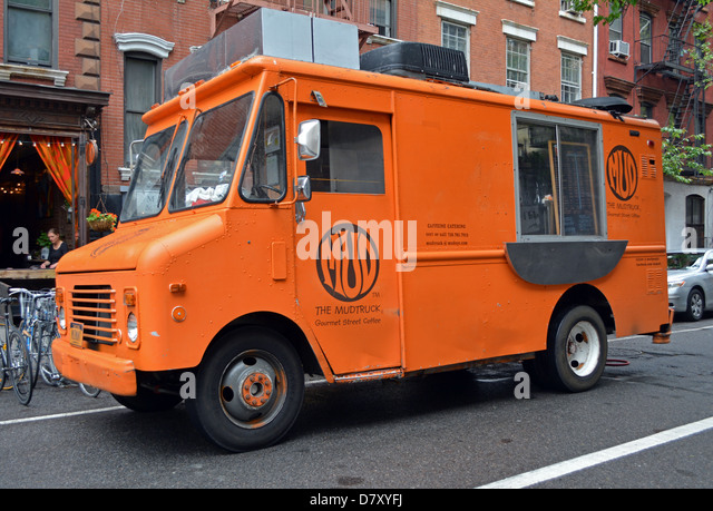 The Mud Truck, a food van in New York City that specializes in coffee and snacks.food, truck, van, Manhattan, coffee, - Stock Image