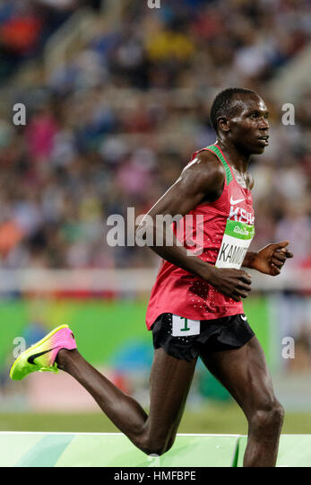 Rio de Janeiro, Brazil. 13 August 2016.  Athletics, Geoffrey Kipsang Kamworor (KEN) competing in the  Men's - Stock Image