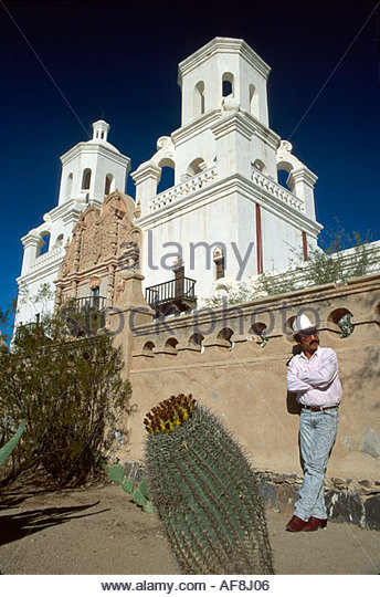 Arizona Tucson Tohono O'Odham Indian Mission San Xavier del Bac resident - Stock Image
